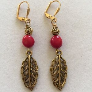 NWT, natural coral and gold plated earrings